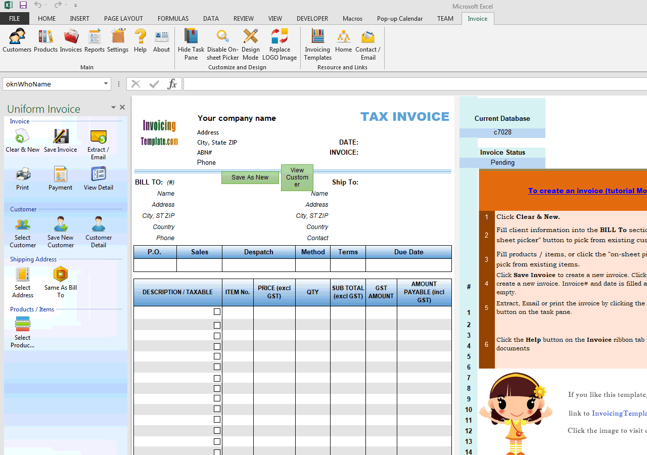 ABN Tax Invoice Free Invoice Templates For Excel PDF - Free invoicing template