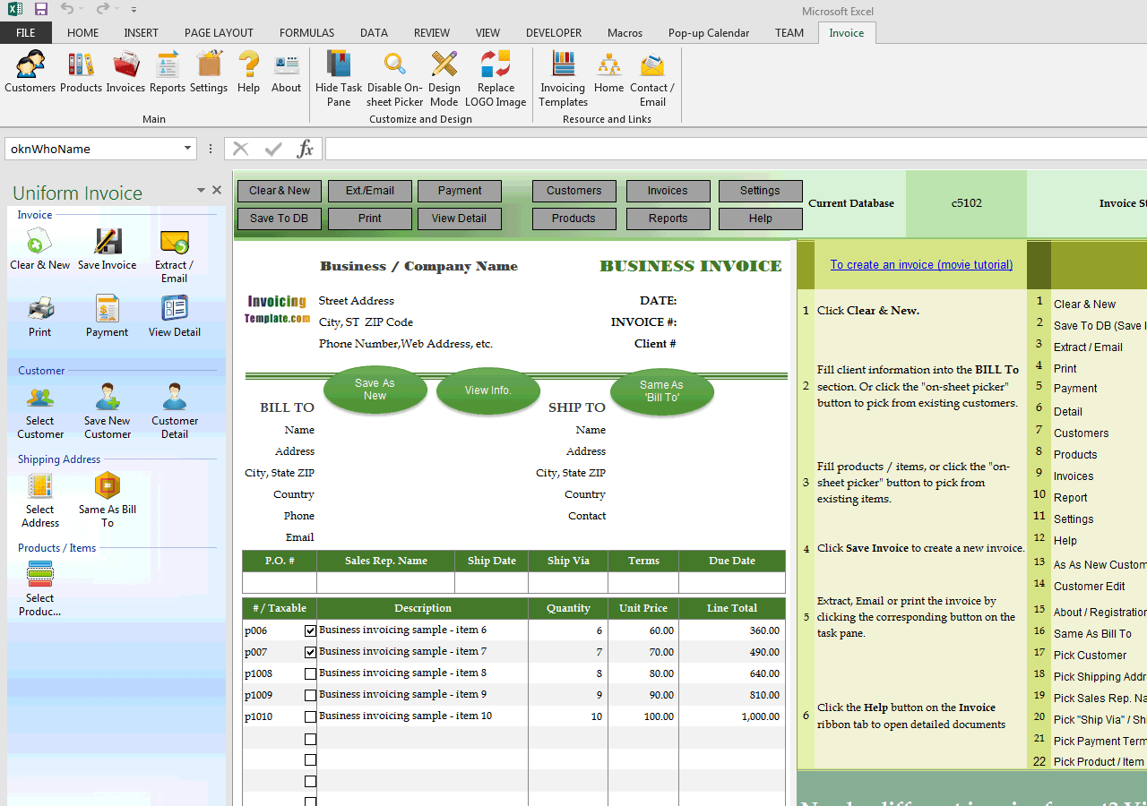advanced sample invoiced total in english words