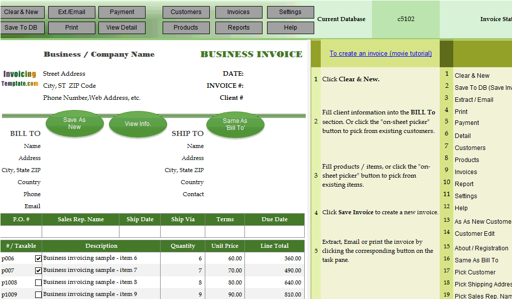 Advanced Bill Sample - Invoiced Total in English Words