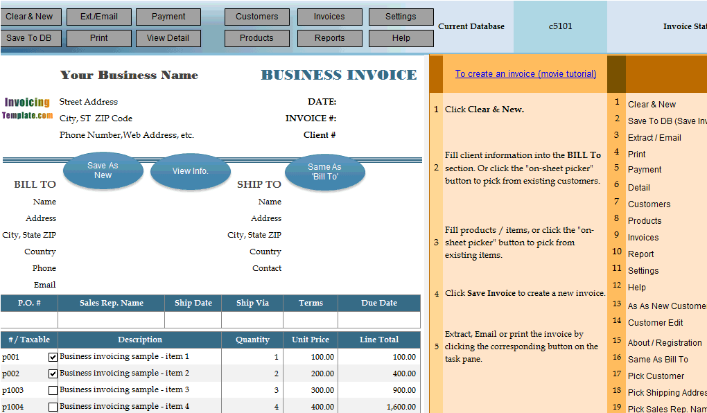 Advanced Sample - Macro-Enabled Invoicing Template
