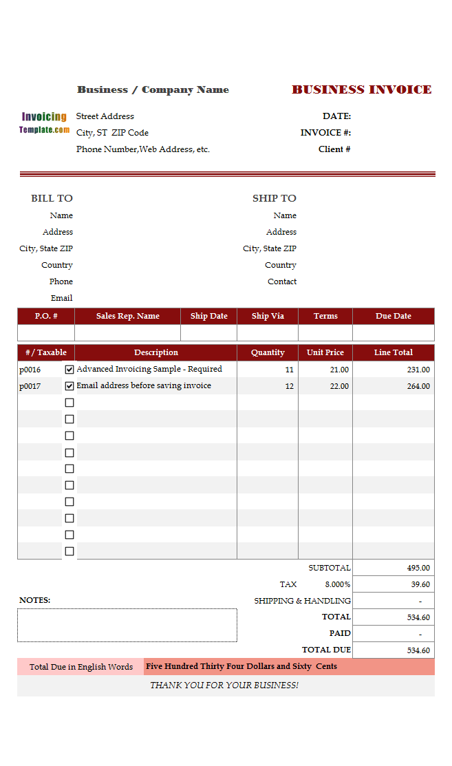 invoicing template in euros
