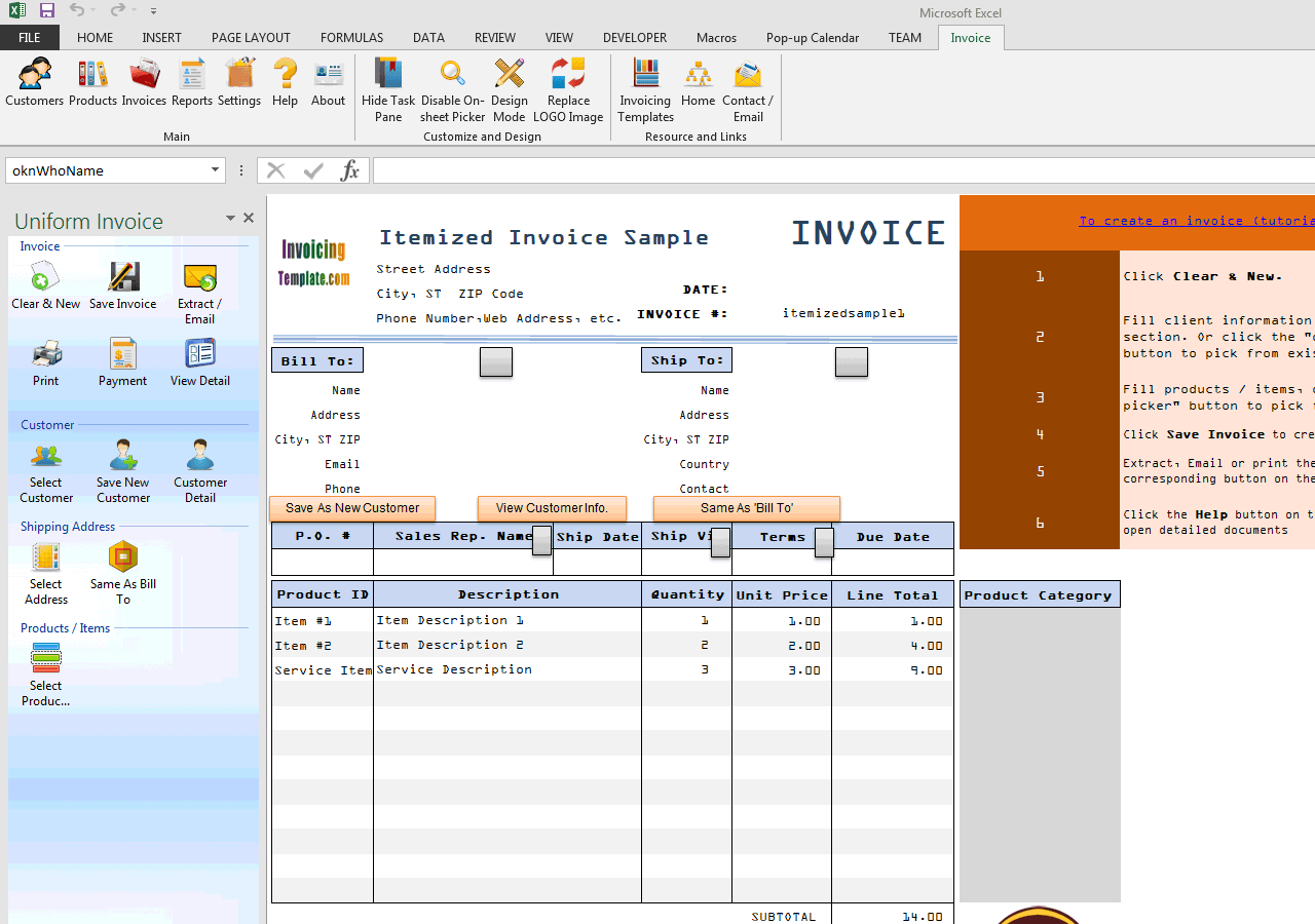 Itemized Invoice Template (UIS Edition)