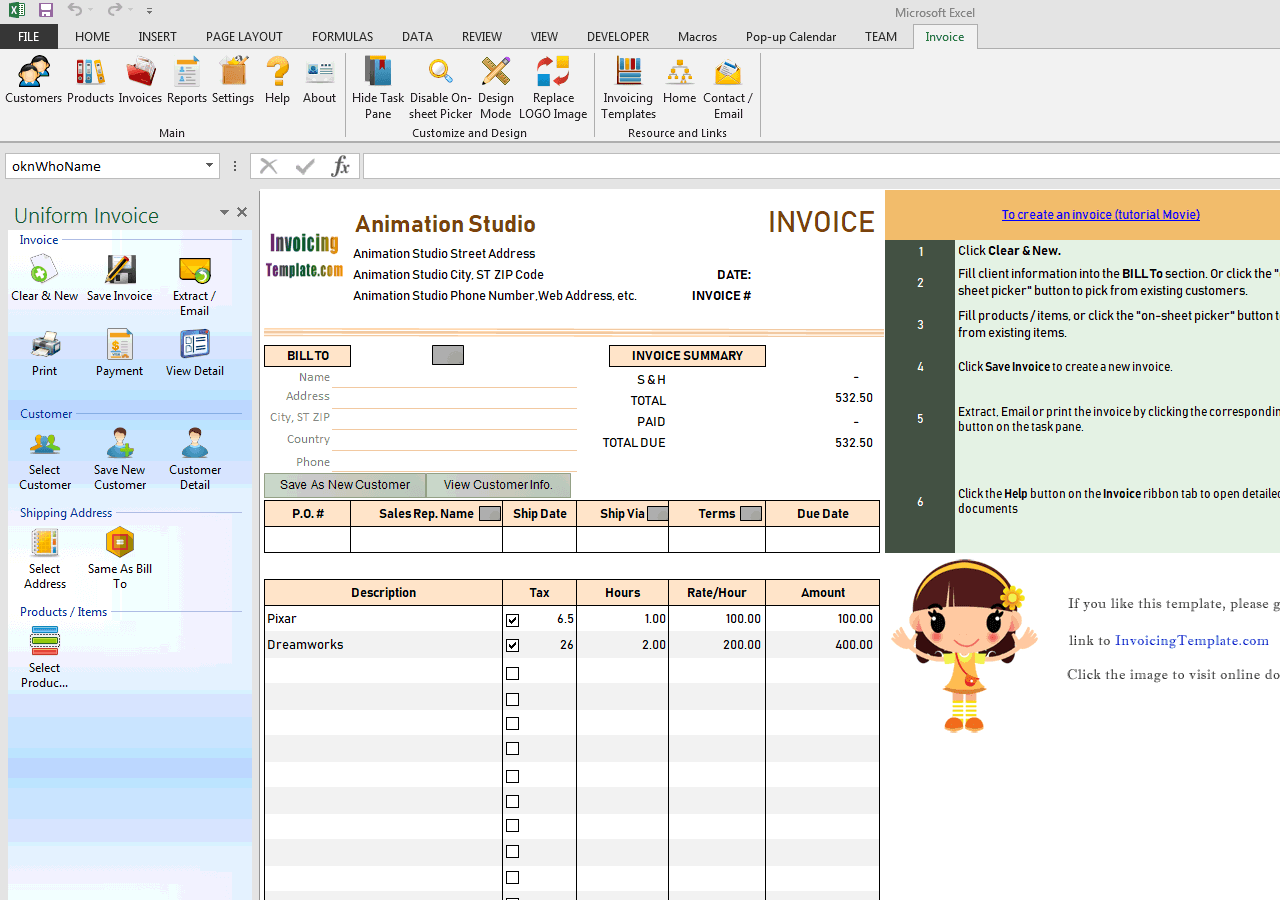 Animation Invoice Template (IMFE Edition)