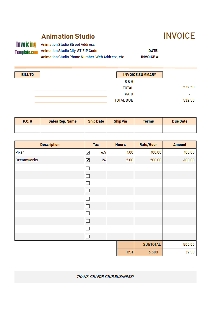 Animation Invoice Template