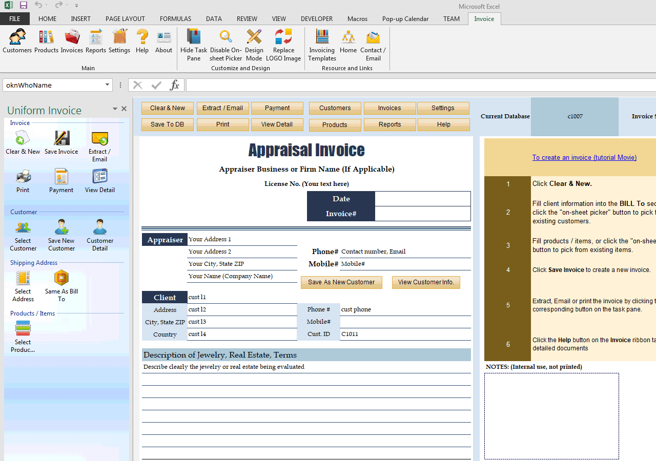 Appraisal Invoice Template (IMFE Edition)