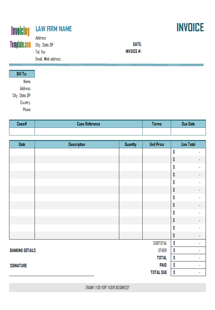 legal billing statement