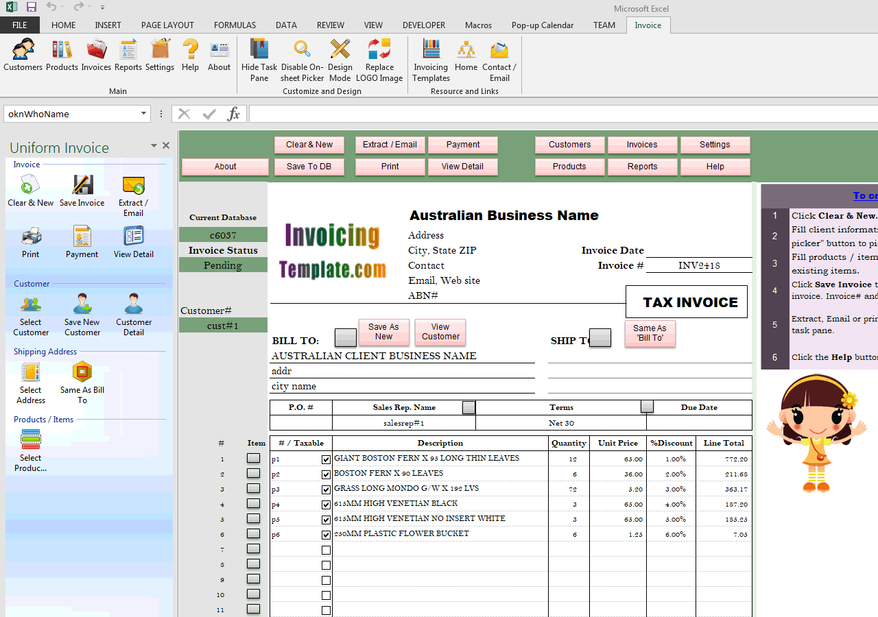 Simple Sales Invoice for Australia (IMFE Edition)