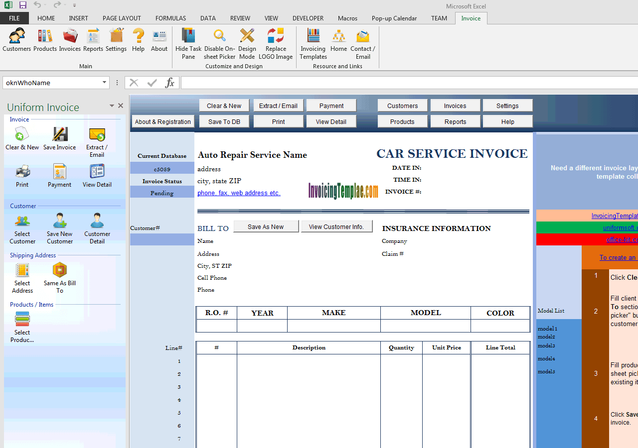 Auto Repair Service Invoice with Car Lift Background Image (IMFE Edition)