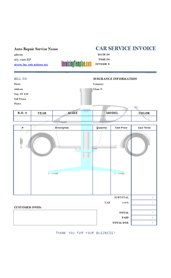 Auto Repair Service Invoice With Car Lift Background Image