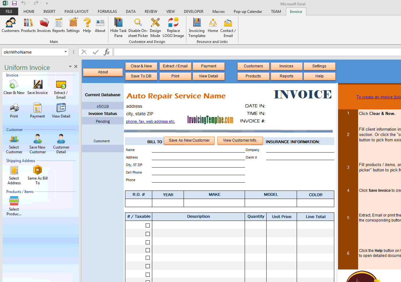 Auto Repair Invoice Template - Mechanic shop invoice templates