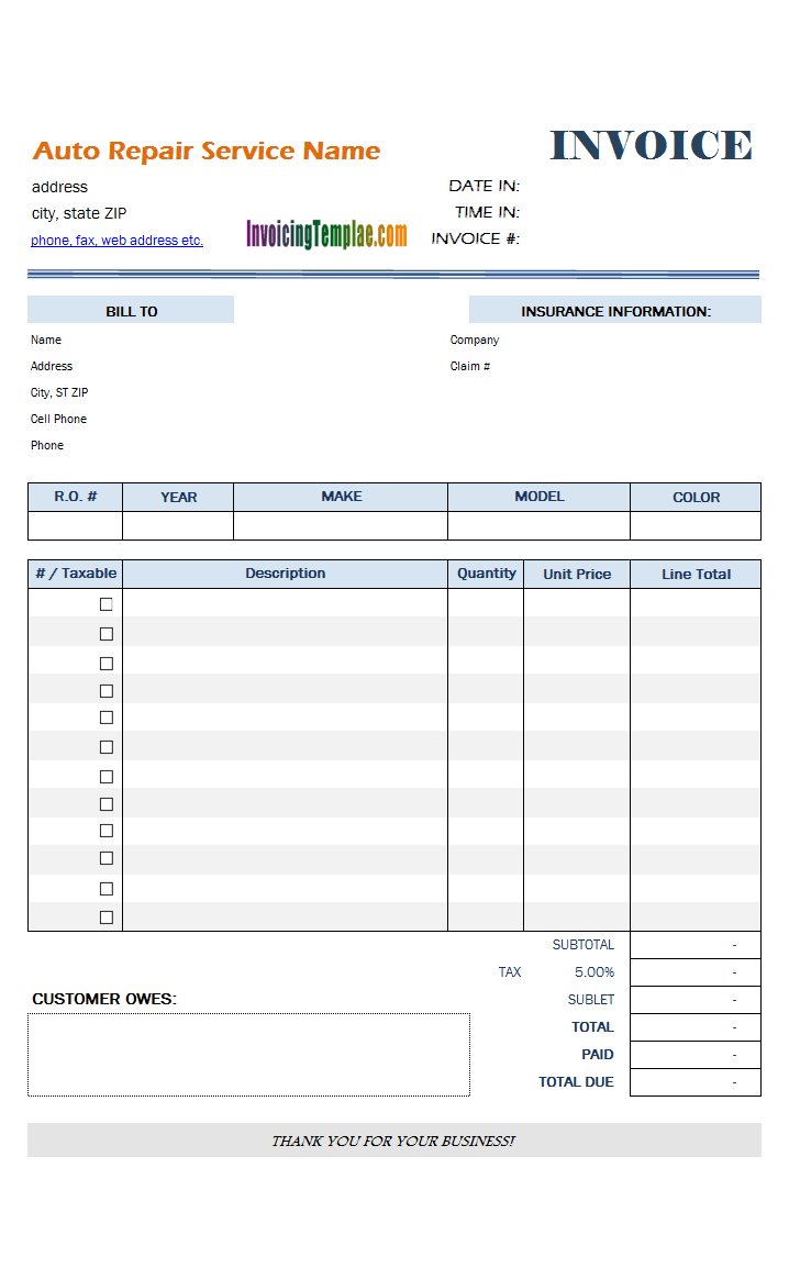 Blank Vehicle Repair Invoice