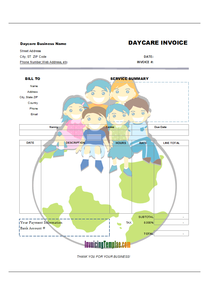 Babysitting Invoice (Happy Kids on Earth Style)