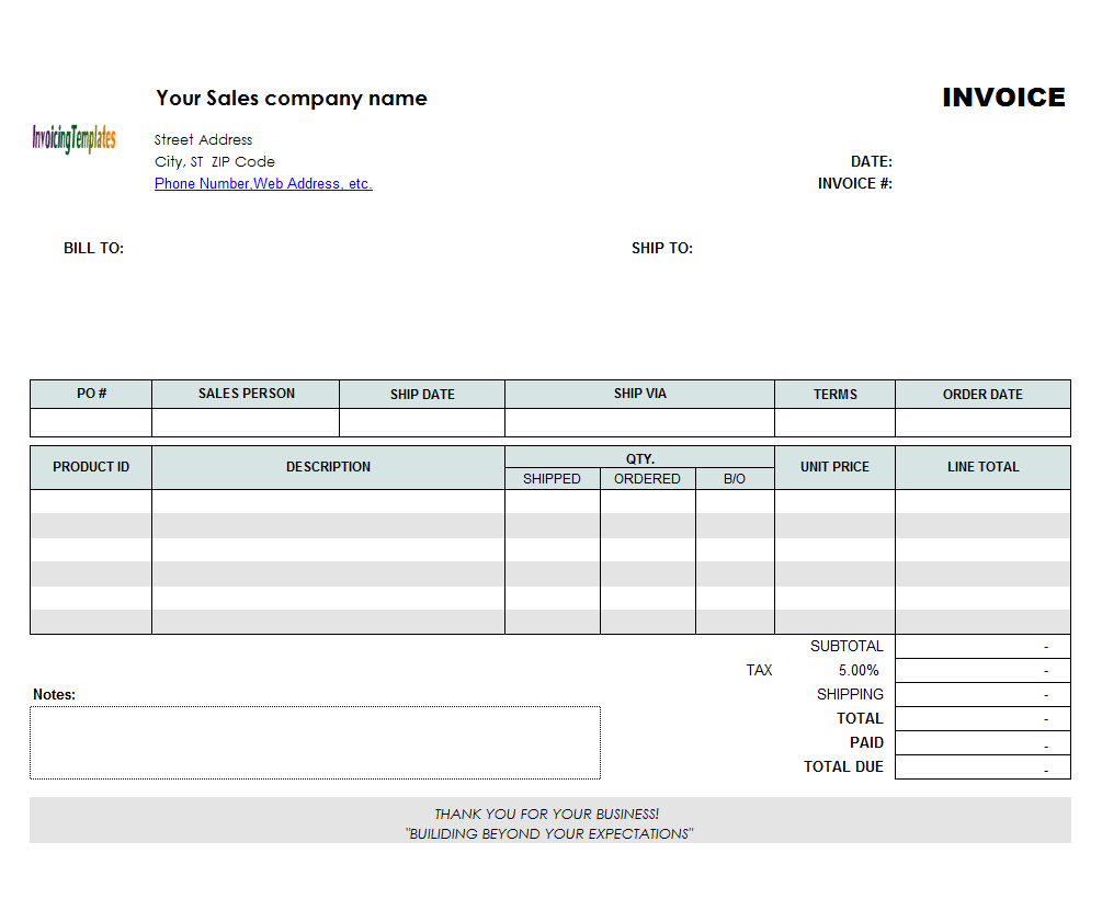 Backorder Invoice Template (Landscape) - freeware edition