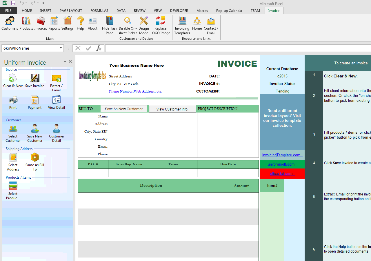Basic Blank Service Billing Format (No-tax, Long Description) (IMFE Edition)