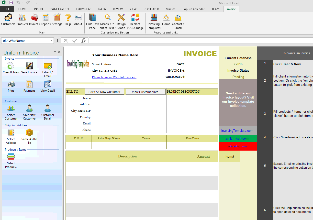 Basic Blank Service Invoicing Format (One-tax, Long Description) (UIS Edition)