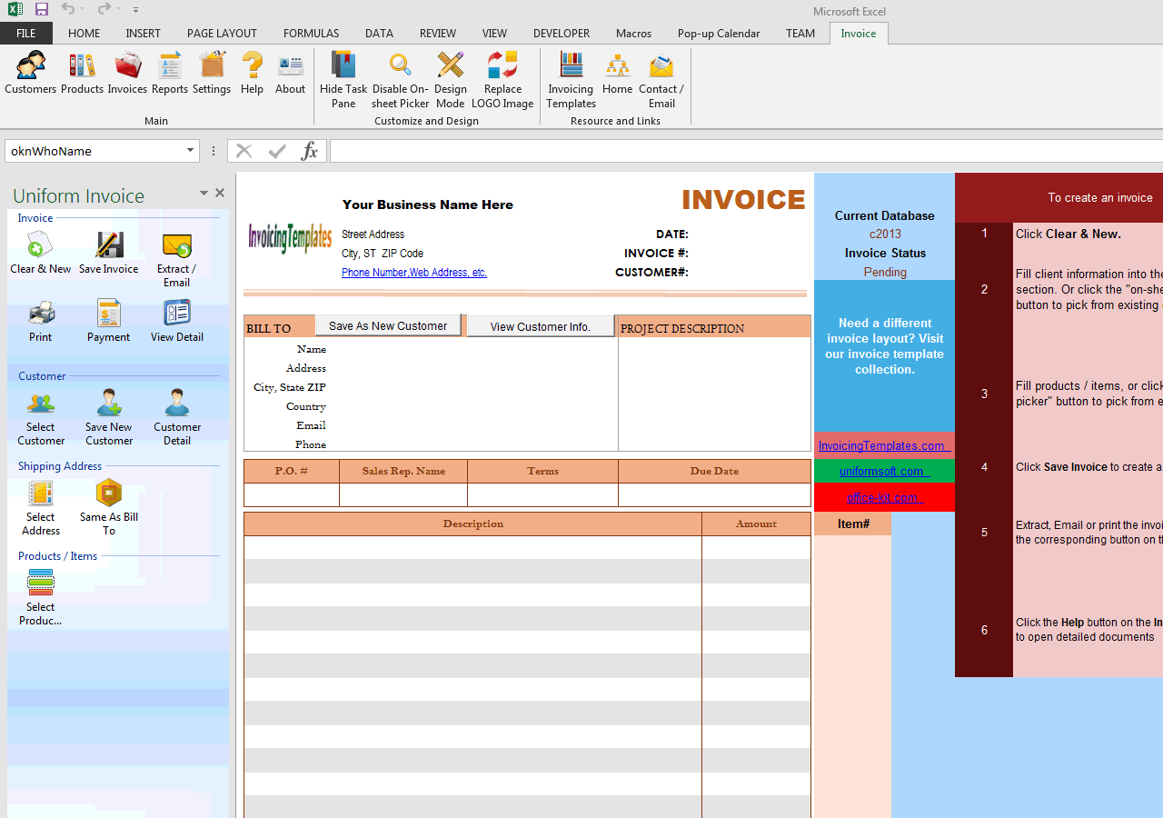 Basic Blank Service Invoice Format (One-tax) (IMFE Edition)