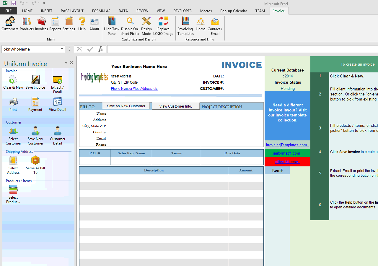 Basic Blank Service Invoice Format (Two-taxes) (UIS Edition)