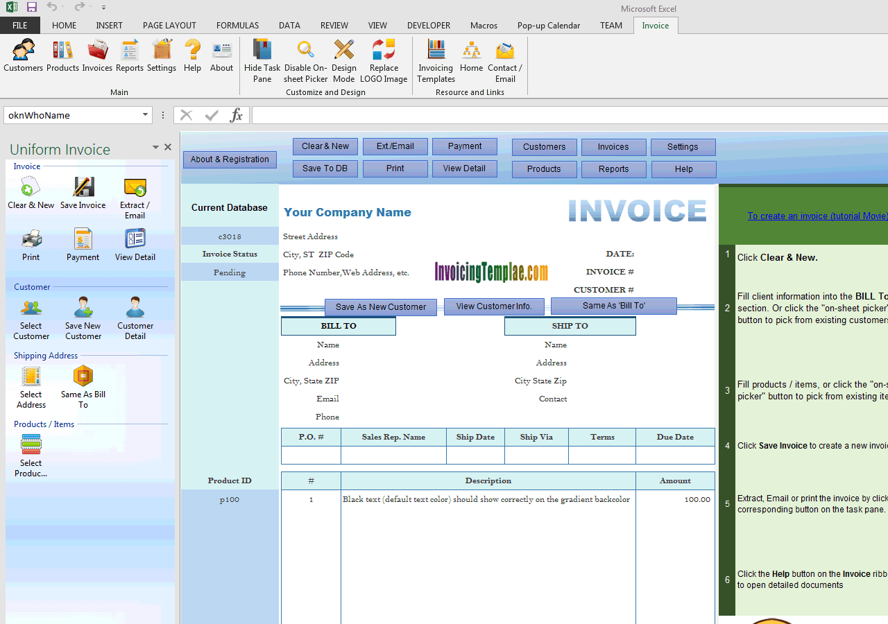 Basic Sales Invoice with Blue-violet Gradient Background (UIS Edition)
