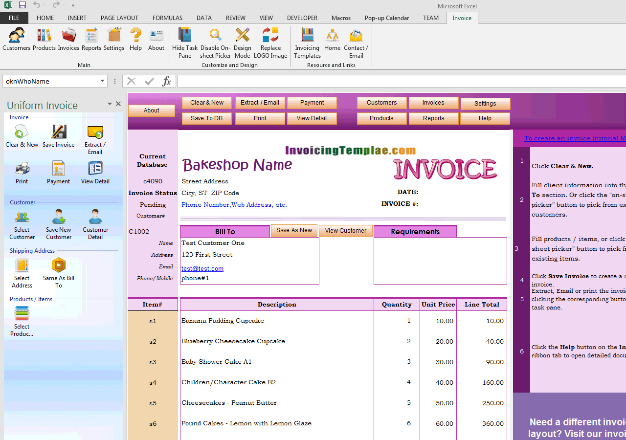 Invoicing Format for Bakery and Cake Shop (UIS Edition)