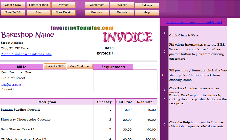Invoicing Template for Bakery and Cake Shop