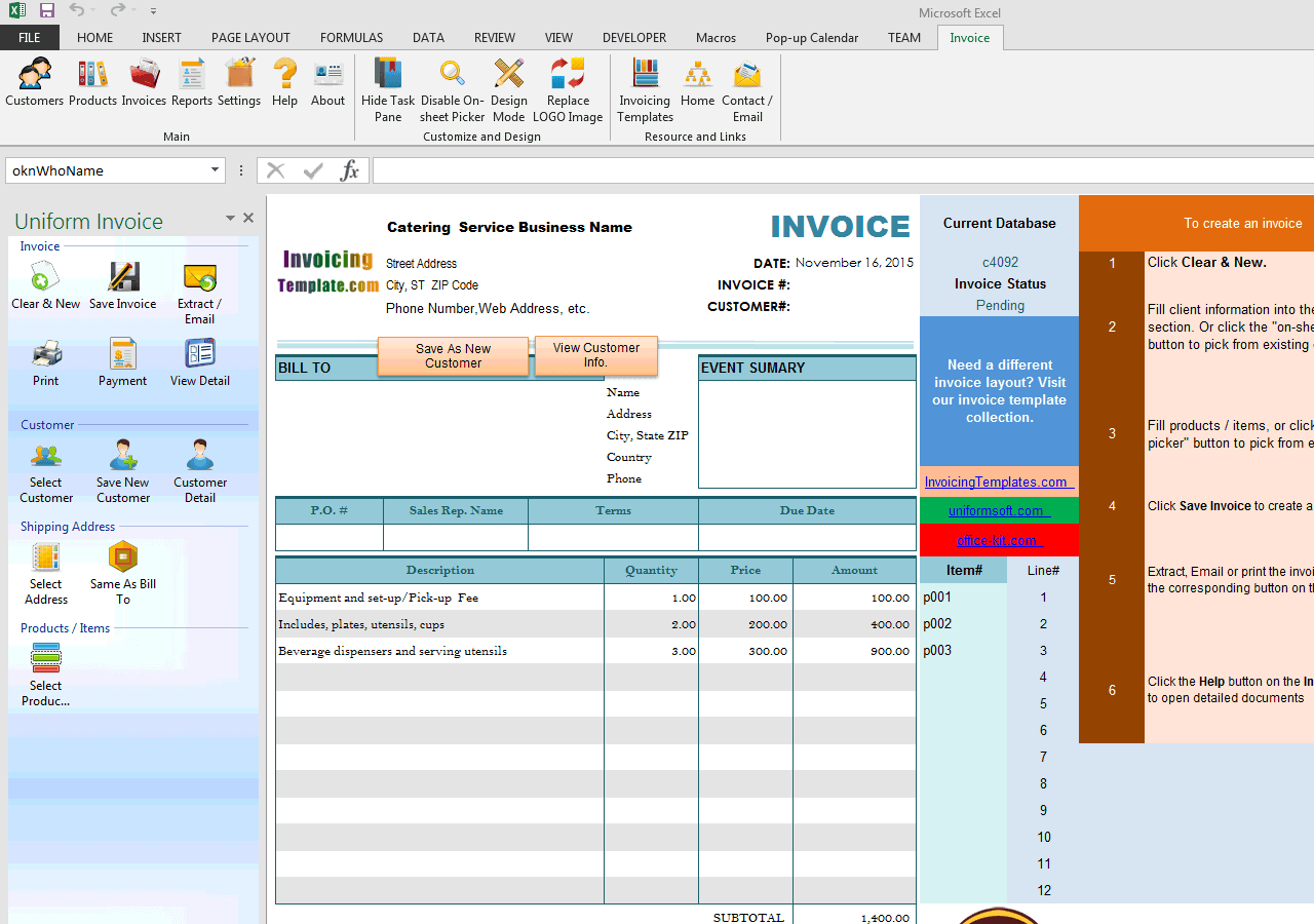 Bill Format For Catering And Wedding Service - Invoice programs free for service business