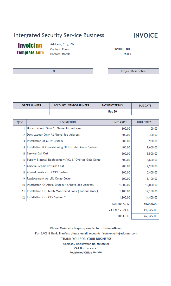 Service Invoice Template - Invoice template download