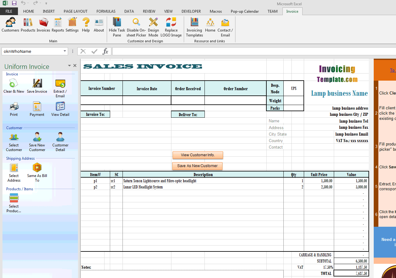 Bill Format for Lamp / Lighting Business (UIS Edition)
