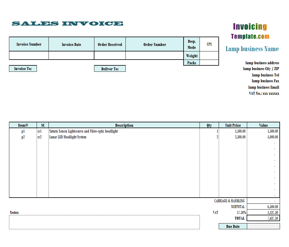 Business Invoice Template - Vendor invoice template