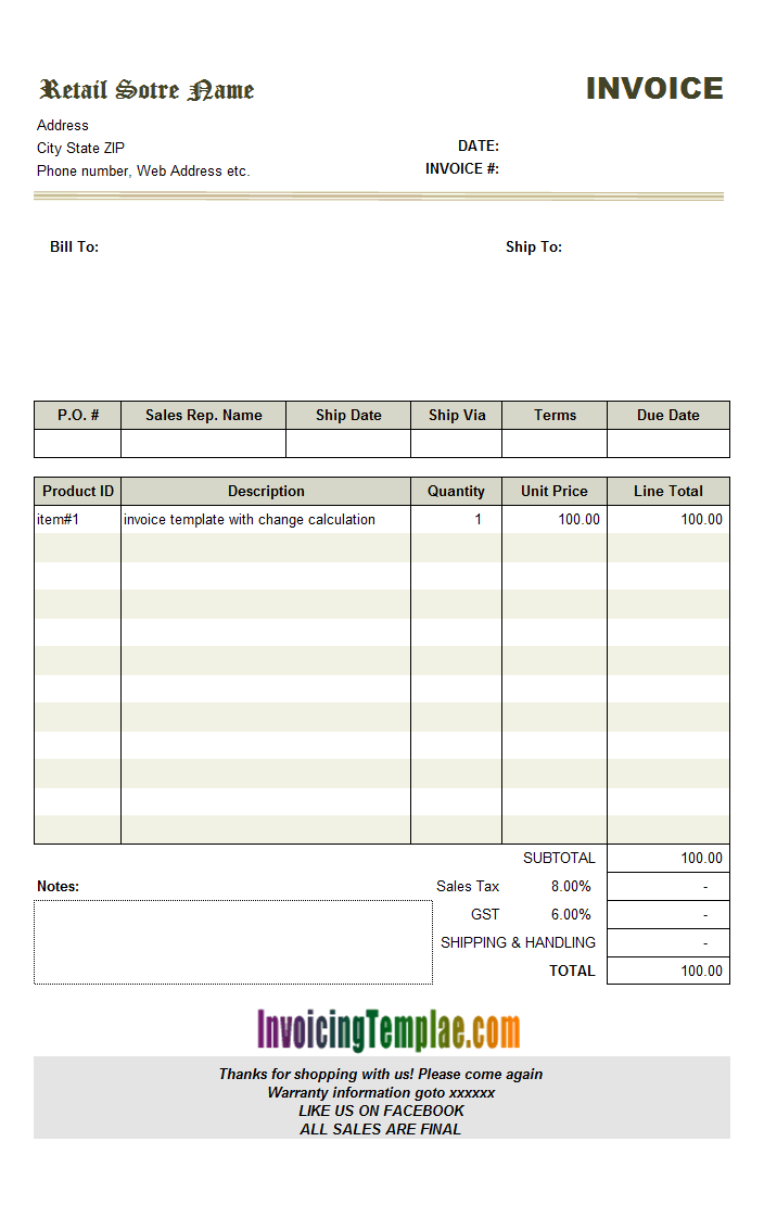 Bill Format with Change Calculation