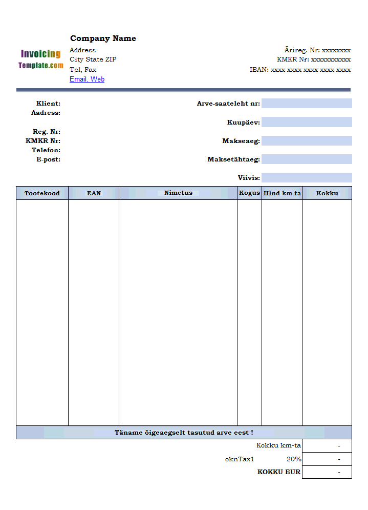 Vehicle Tax Invoice Template