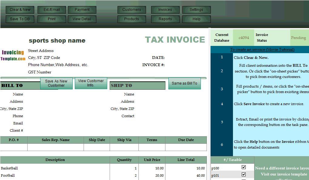 invoicing template with sports theme