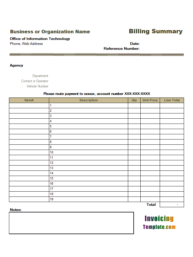 Billing Summary Template