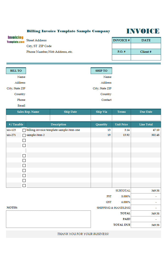 Billing Template With Tear Off - Billing invoices templates