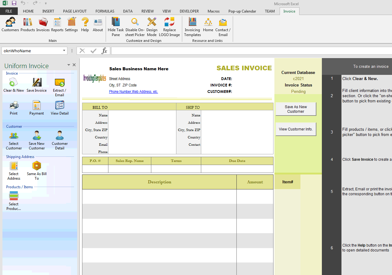 Blank Sales Billing Sample (No-tax, Long Description) - IMFE edition