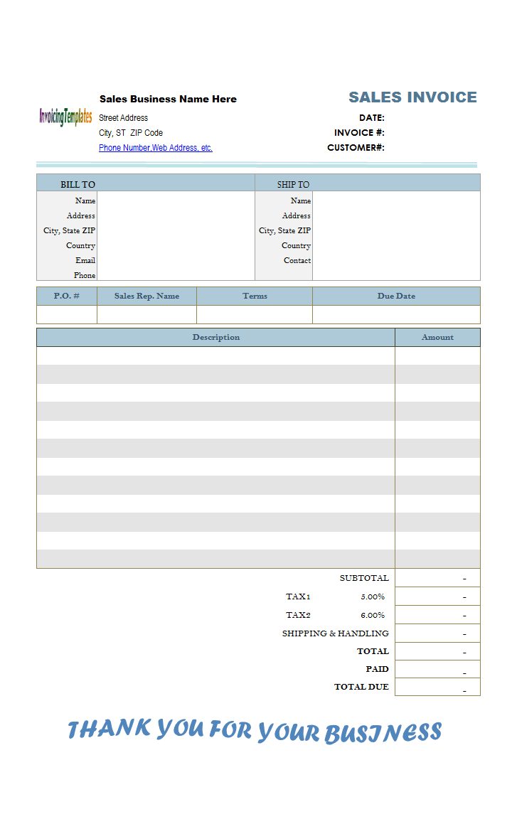 blank sales invoice template  Cash Sales Invoice Sample