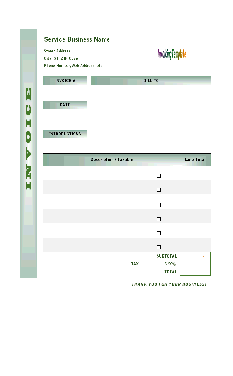 Blank Service Invoice with Green Gradient Design
