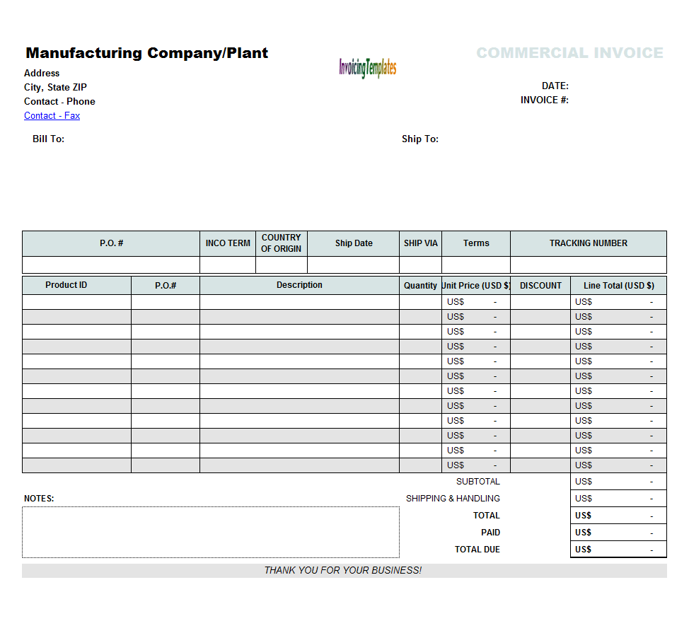 commercial invoice for export in excel