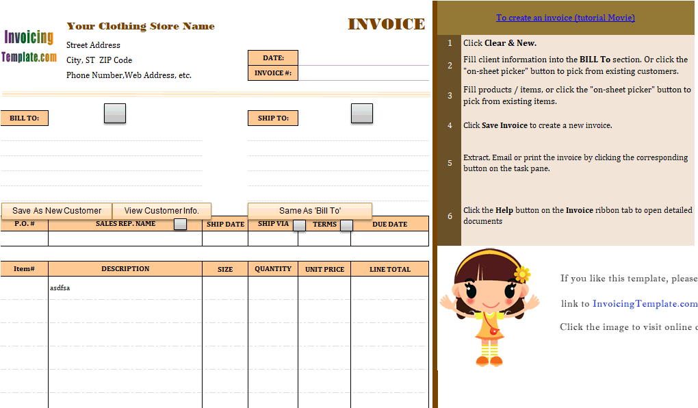 Boutique Bill Sample - Free invoice template for word 2010 dress stores online
