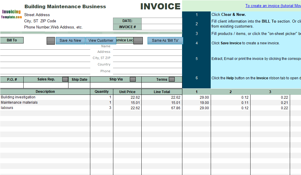 Building Maintenance Invoice Sample