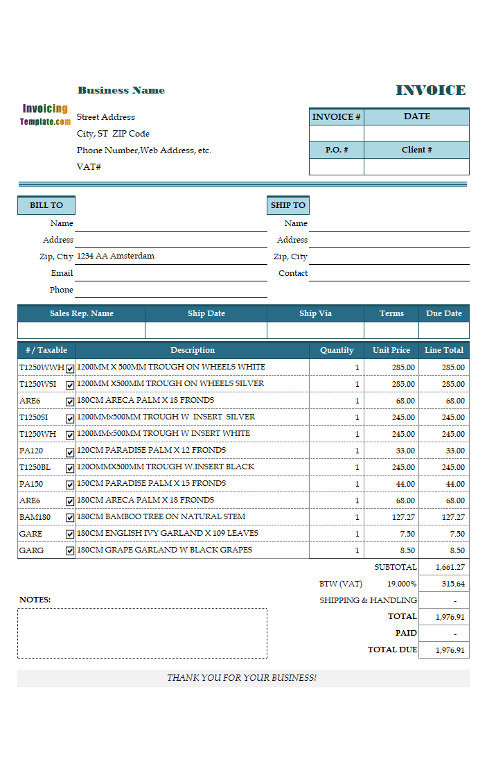 Business Invoice Template for Netherlands