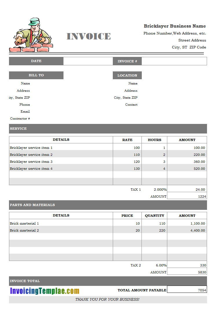 bricklayer invoice template