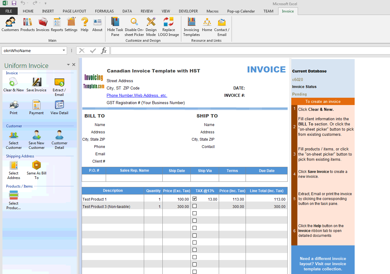 Canadian Invoice Template with HST (IMFE Edition)