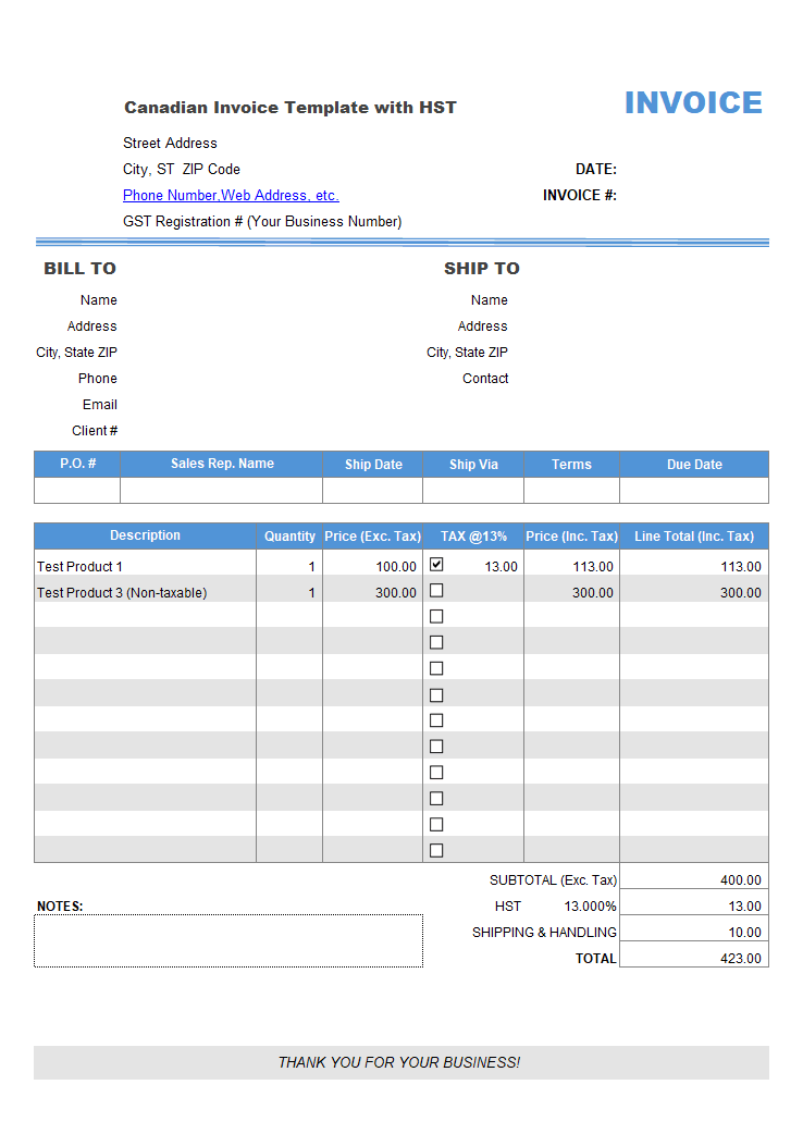 Canadian Invoice Template With Hst