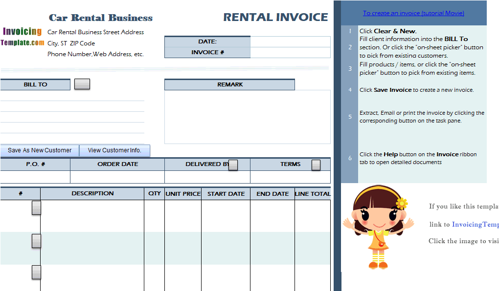 rent a car invoice template  Car Rental Invoice Sample