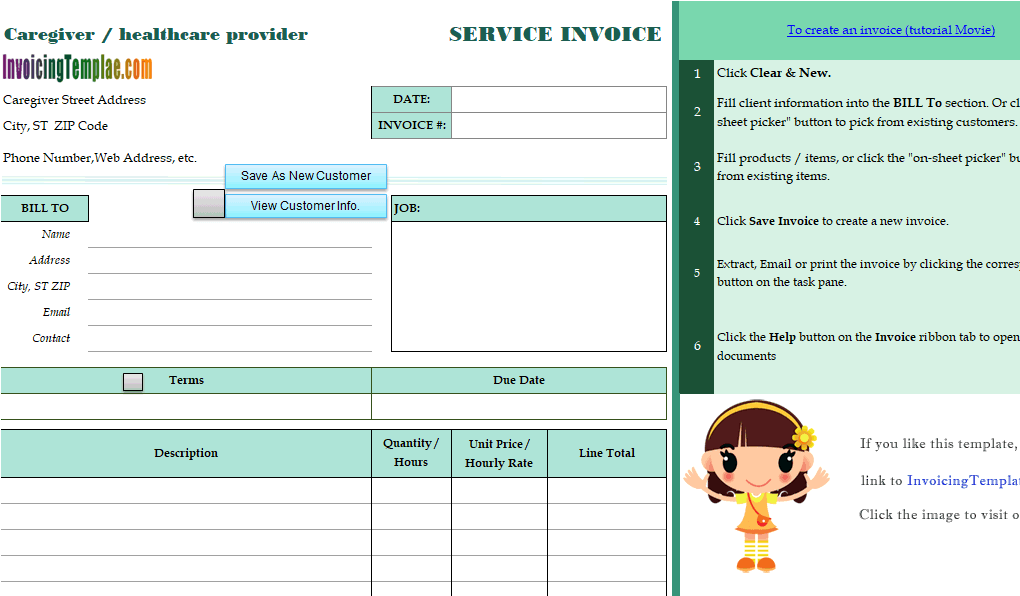 Caregiver Billing Form - Home health care invoice template