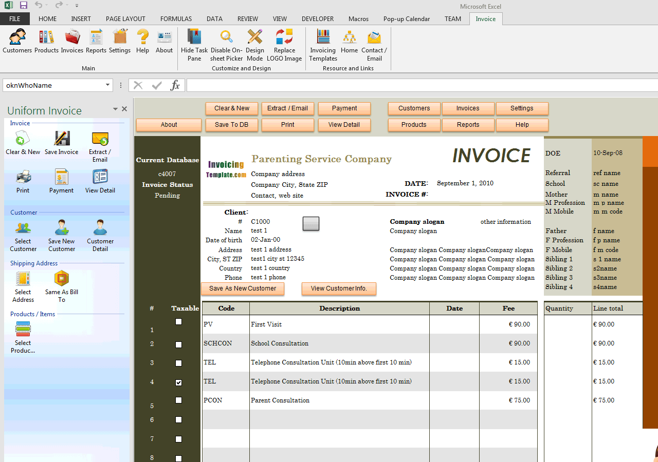 Child Care Billing Template (UIS Edition)