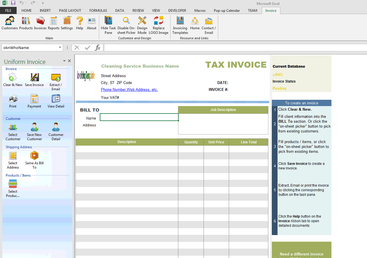Cleaning Service Invoice Template - Program to create invoices for service business