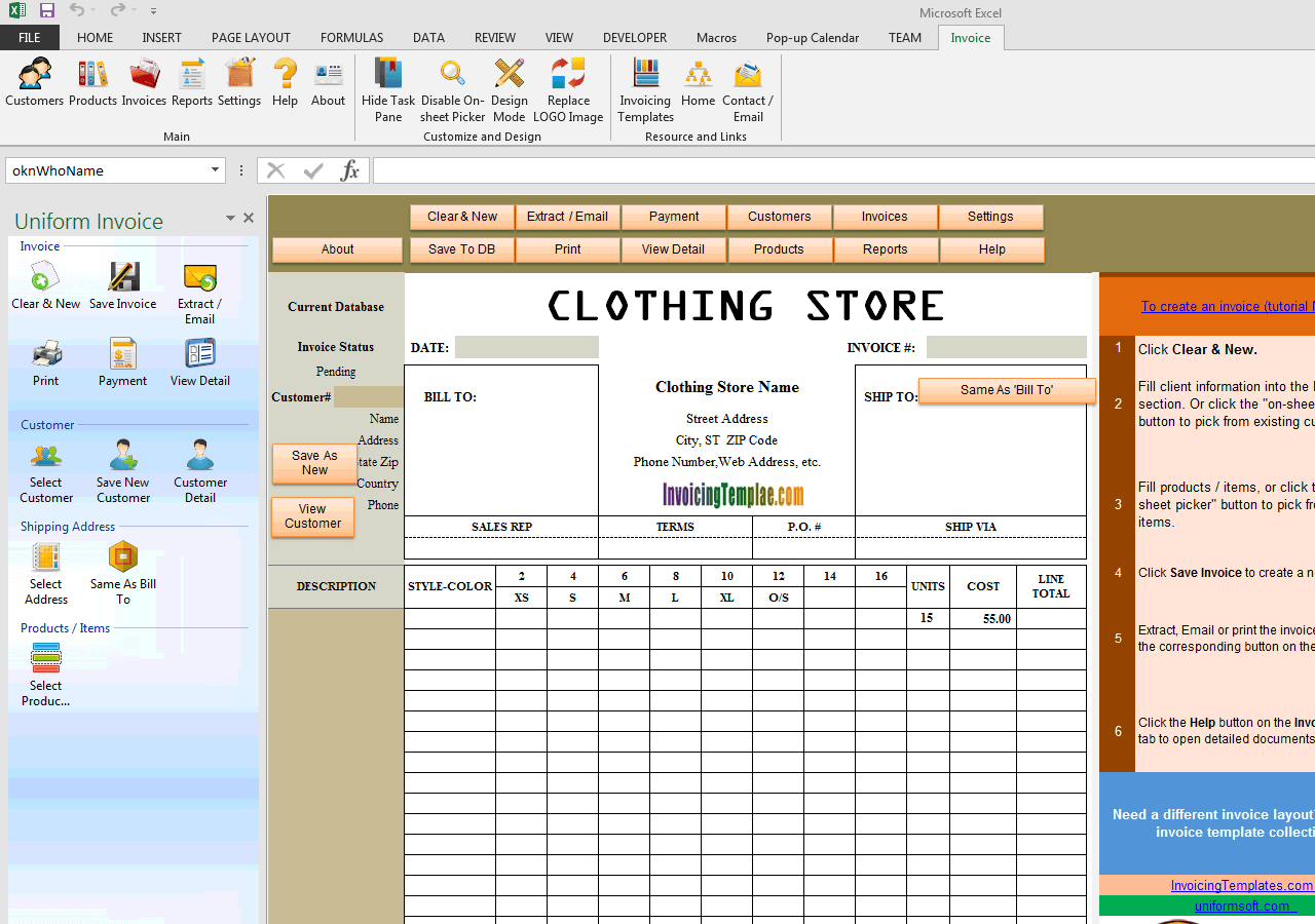 Clothing Store Manufacturer Invoice Template With Discount Percentage - Create an invoice in microsoft word dress stores online
