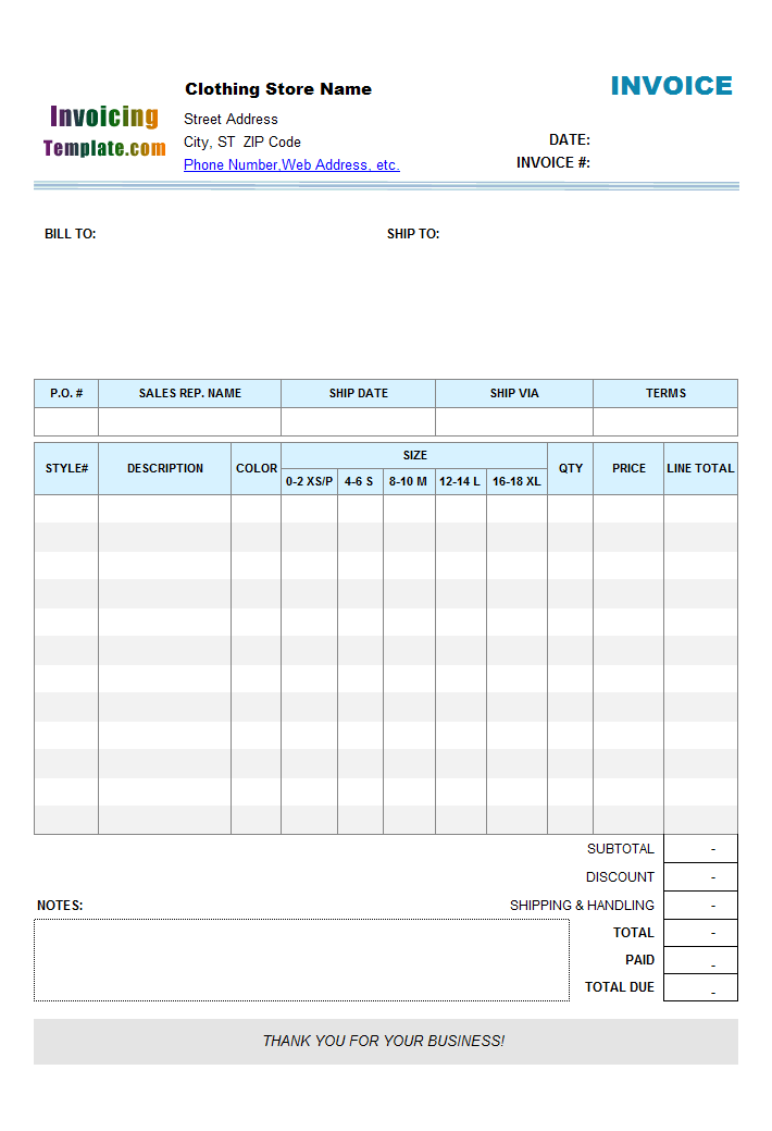 Clothing Store Manufacturer Invoice With Size Breakdown