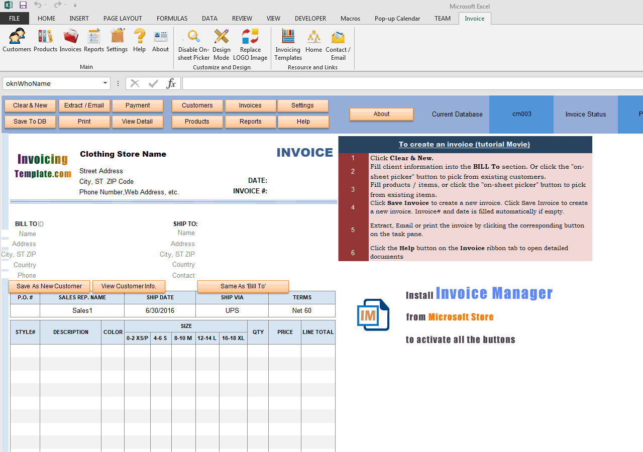 Clothing Store Manufacturer Invoice With Size Breakdown - Manufacturer invoice